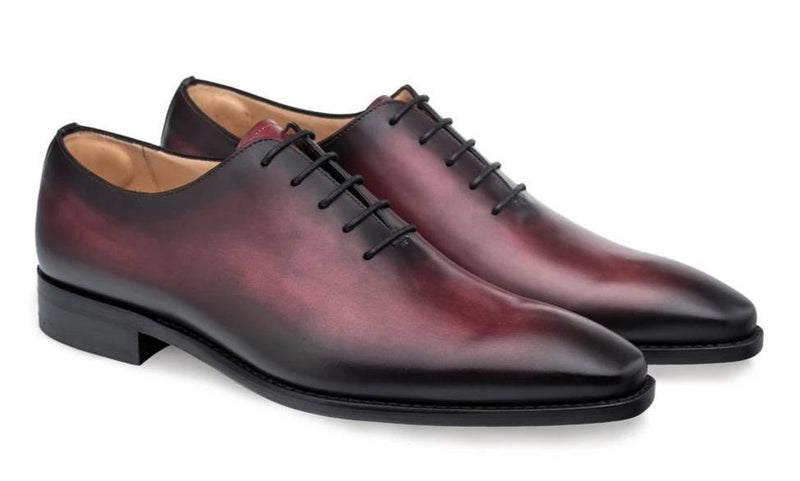 Mezlan Pamplona Hand-Stained Italian Calfskin Plain Toe Balmoral Men's Oxford in Burgundy