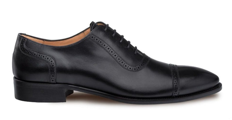 Mezlan Belgrade Men's Classic Perforated Cap Toe Oxford in Black