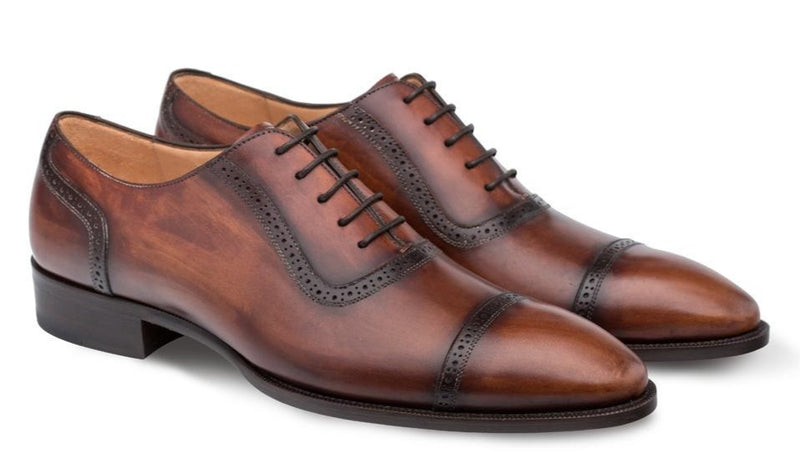 Mezlan Belgrade Cap Toe Oxford Shoe in Cognac