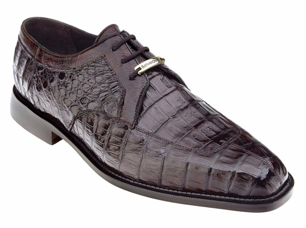 Belvedere Susa Genuine Crocodile Men's Lace-up Dress Oxford in Brown