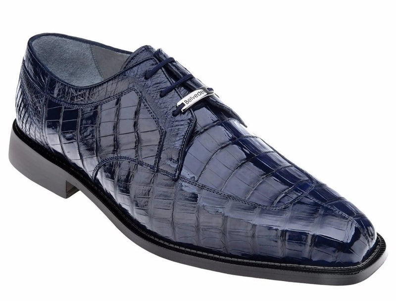Belvedere Susa Genuine Crocodile Men's Lace-up Oxford in Navy