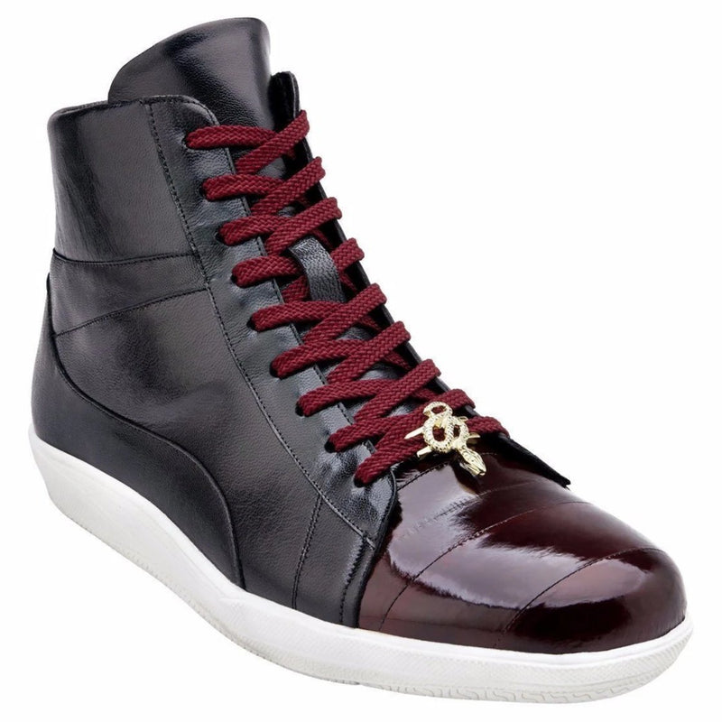 Belvedere Vitale Genuine Eel/Calfskin 1/4 Tie Men's High-top Sneaker in Burgundy/Black