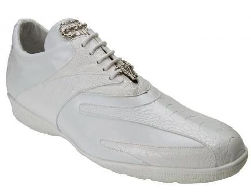 Belvedere Bene Genuine Ostrich and Calf Leather Men's Tie Sneaker in white