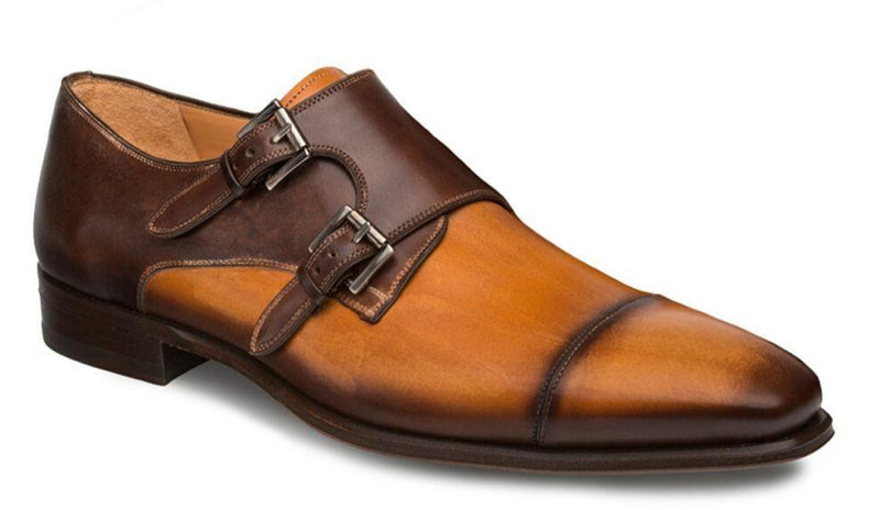 Mezlan Bardem Calfskin Cap Toe Double Monk Strap Men's Loafer in Tan and Brown