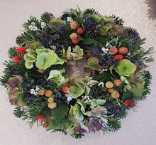 Door Wreath, Mixed Flower Wreath, Floral Door Wreath, Florist Cheshire, Flowers Online, Christmas Wreath, All Year Round Wreath, Festive, Berries, Alderley Edge, Prestbury, Wilmslow, Macclesfield Florist, Flower Shop, Order Online, Flower Delivery