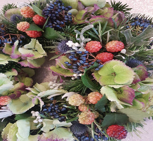 Hydrangea Wreath, Fresh Wreath, Festive Wreath, Christmas Wreath, Alderley Edge, Florist in Alderley Edge, Flowers Alderley Edge, Cheshire, george street, flower delivery