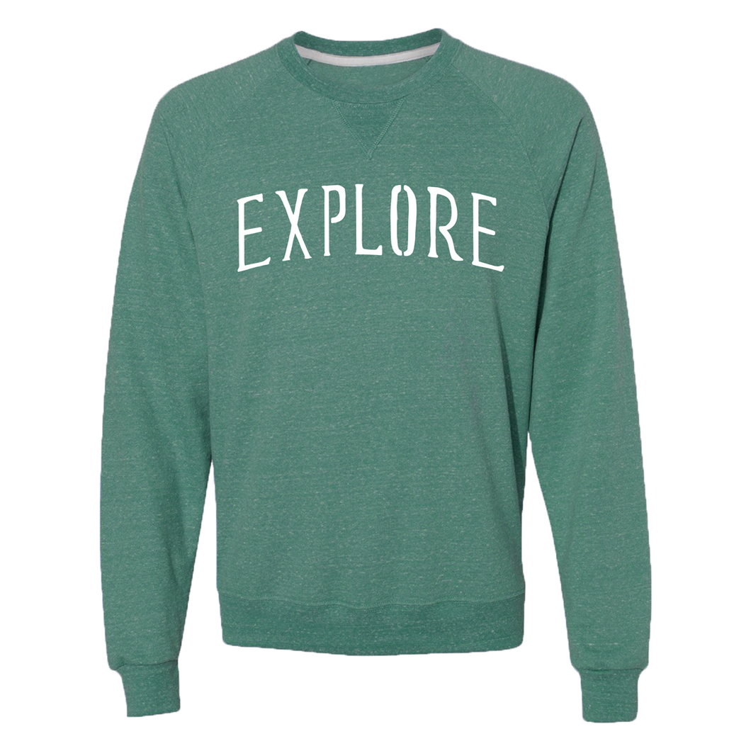 Explore Crew Neck - Heather Forest Green