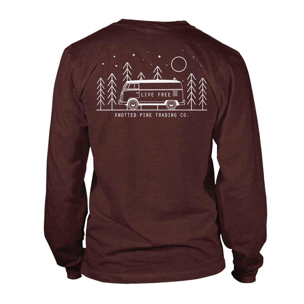 Live Free Long Sleeve - Heather Cardinal