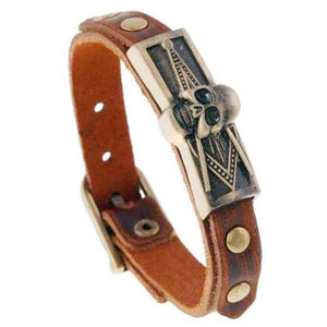 Masonic Skull Brass Leather Buckle Bracelet Bracelets