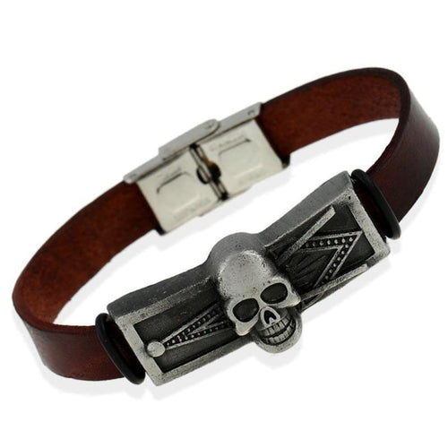 Masonic Skull Silver Leather Bracelet Bracelets