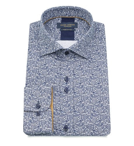 Guide London Blue / White Floral Print Shirt - LS.75225