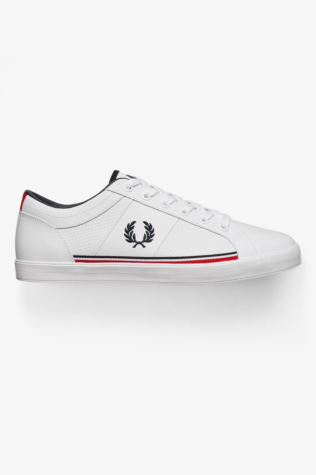 Fred Perry Trainers - Perforated Baseline Leather - White - B7114 - 200