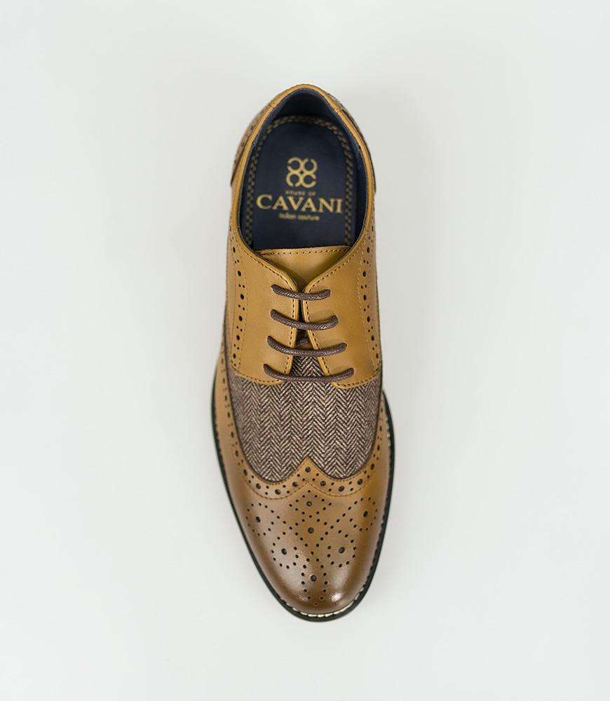 Cavani Horatio Tan Tweed Brogue Shoe