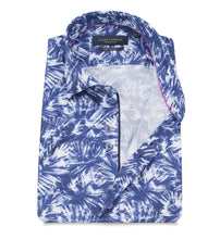 Guide London Blue Leaf Print Pure Cotton Short Sleeve Shirt - HS2351
