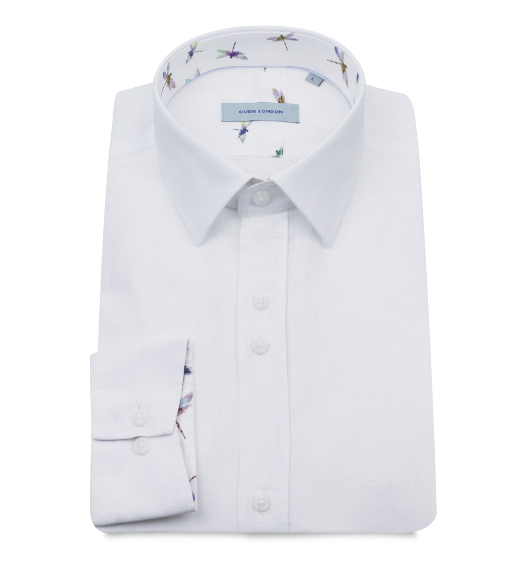 Guide London White Linen Mix Shirt - LS75025