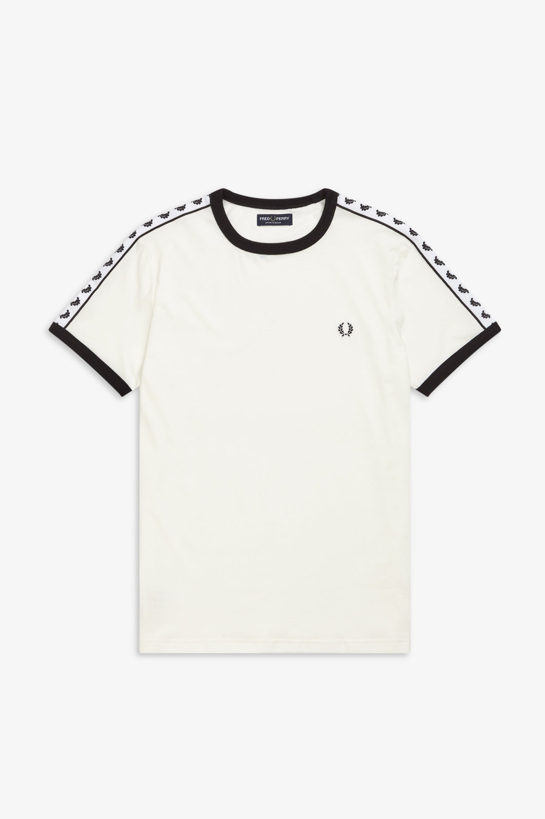 Fred Perry - Taped Ringer - T-Shirt - Snow White / Carbon Blue - M6347 - B34