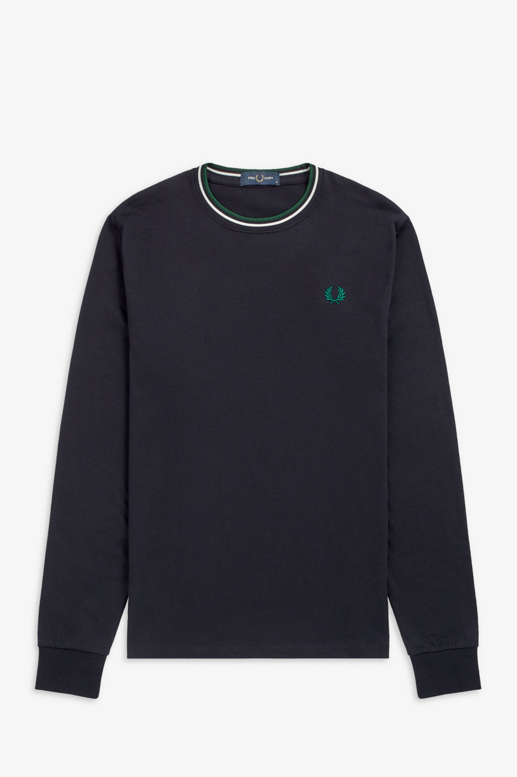 Fred Perry Navy Twin Tipped Long Sleeve T-Shirt - M9602 - 608