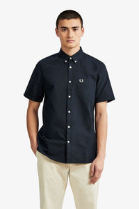 Fred Perry Navy Short Sleeve Oxford Shirt - M8502 - 608