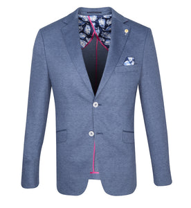 Guide London Blue Knitted Stretch Jersey Fabric Blazer - JK3396