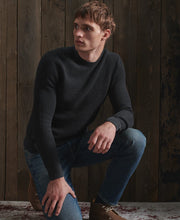 Load image into Gallery viewer, Superdry Carbon Black Academy Dyed Texture Crew Sweatshirt - M6110037A - QS5