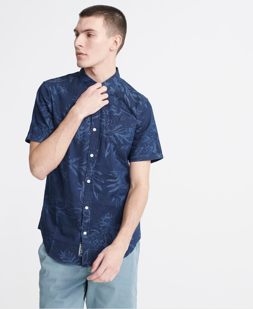 Superdry Indigo Miami Loom Short Sleeve Shirt - M4010006A - T5Q