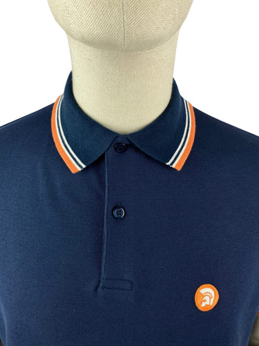 Trojan Navy Tipped Pique Polo - TC/1010