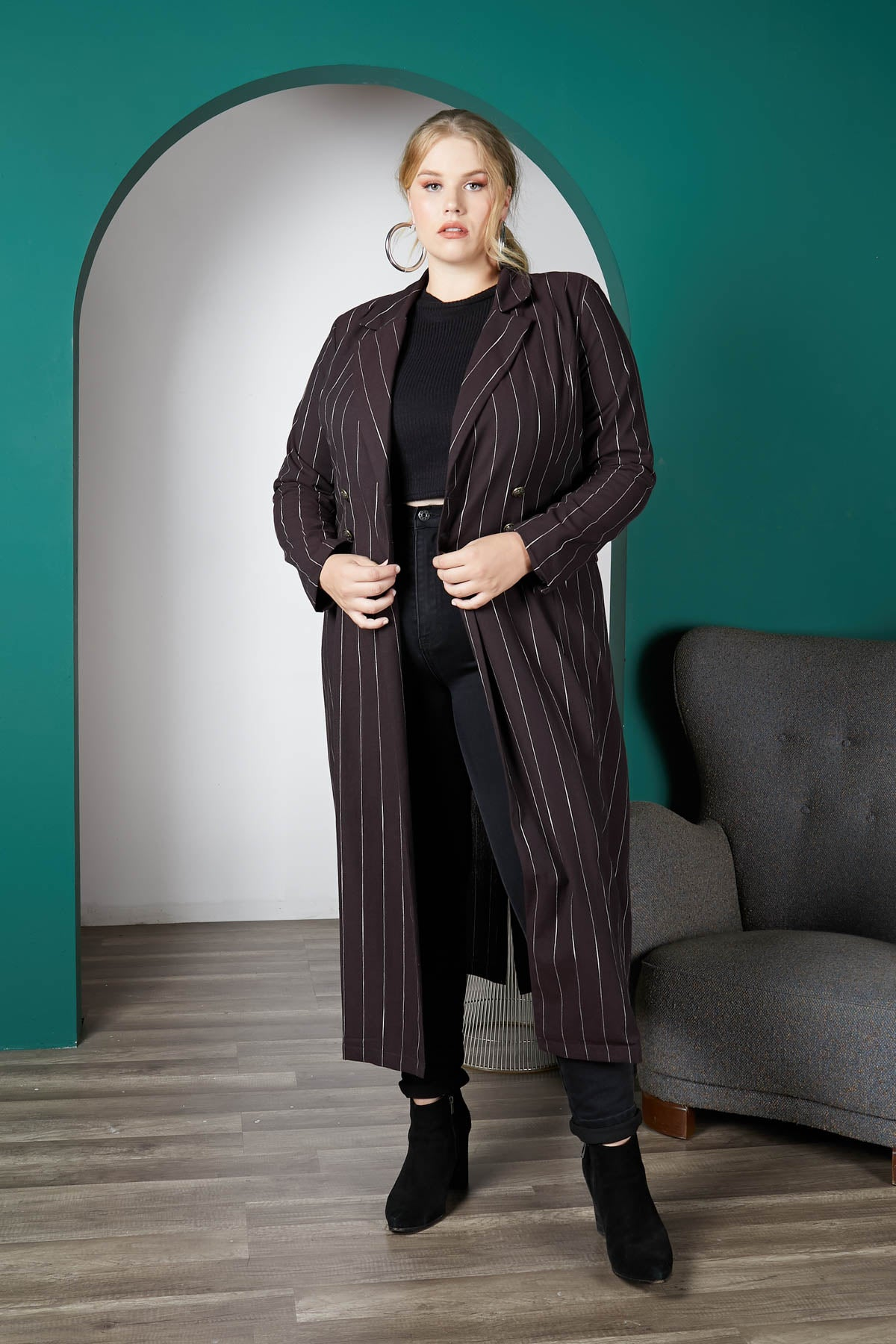 Stripe A Pose Double-Breasted Maxi Jacket