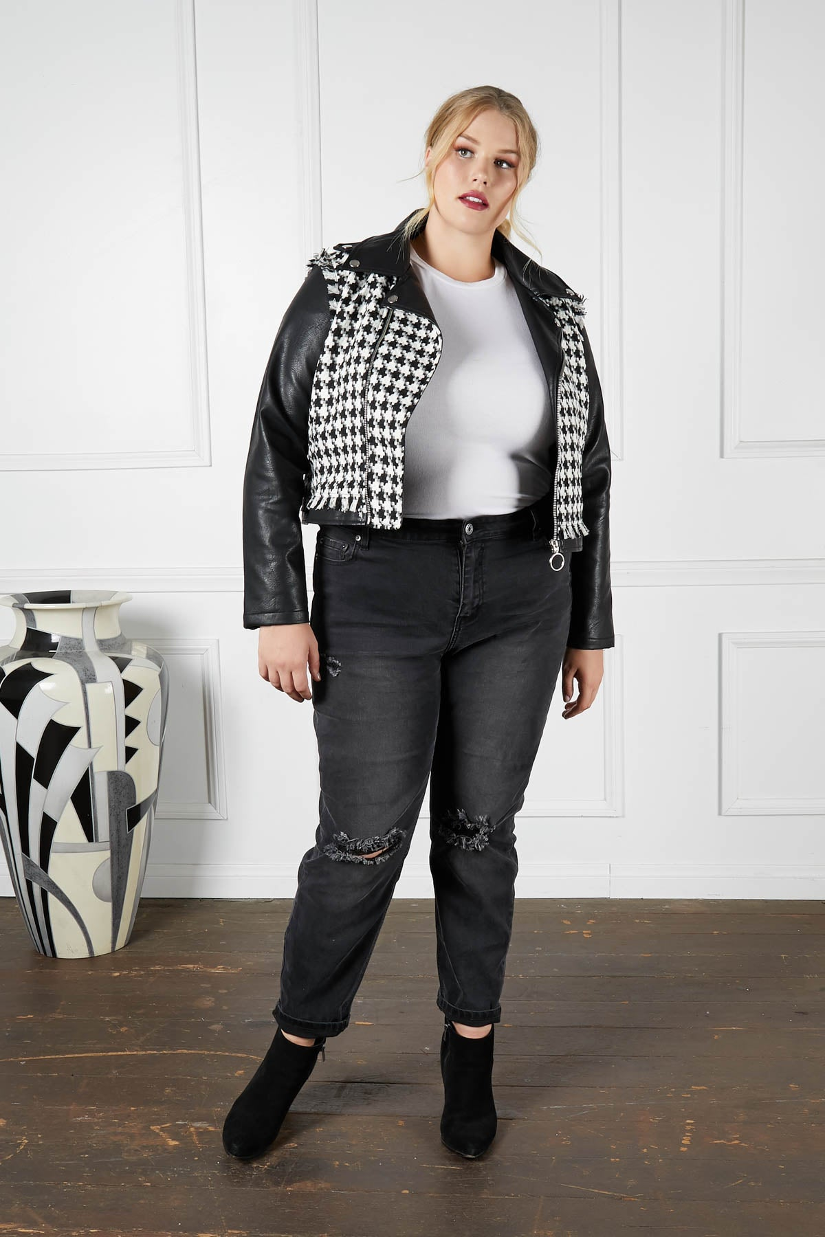 All Bark No Bite Houndstooth Faux-Leather Moto Jacket