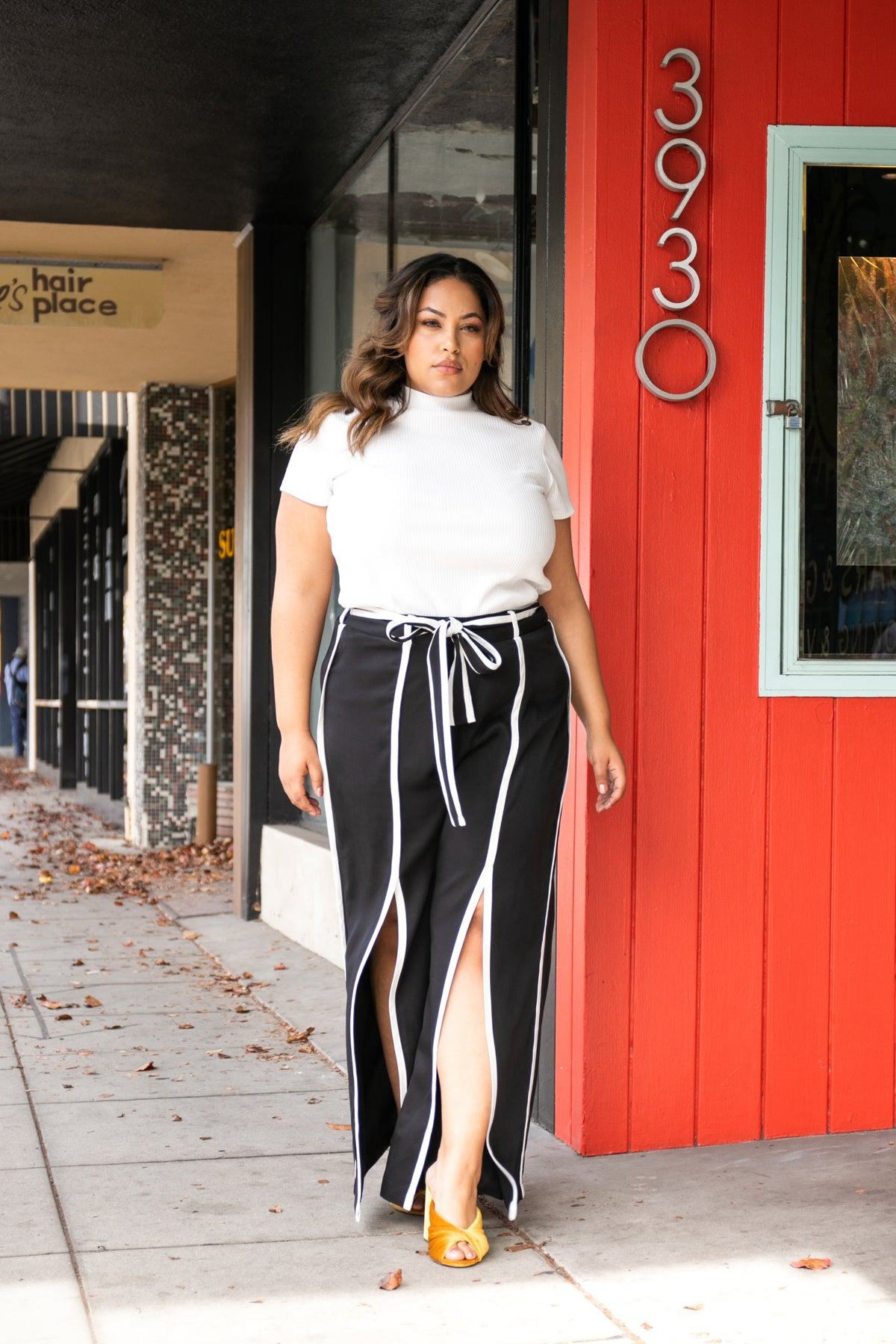 High Waisted Black And White Wide Leg Pants