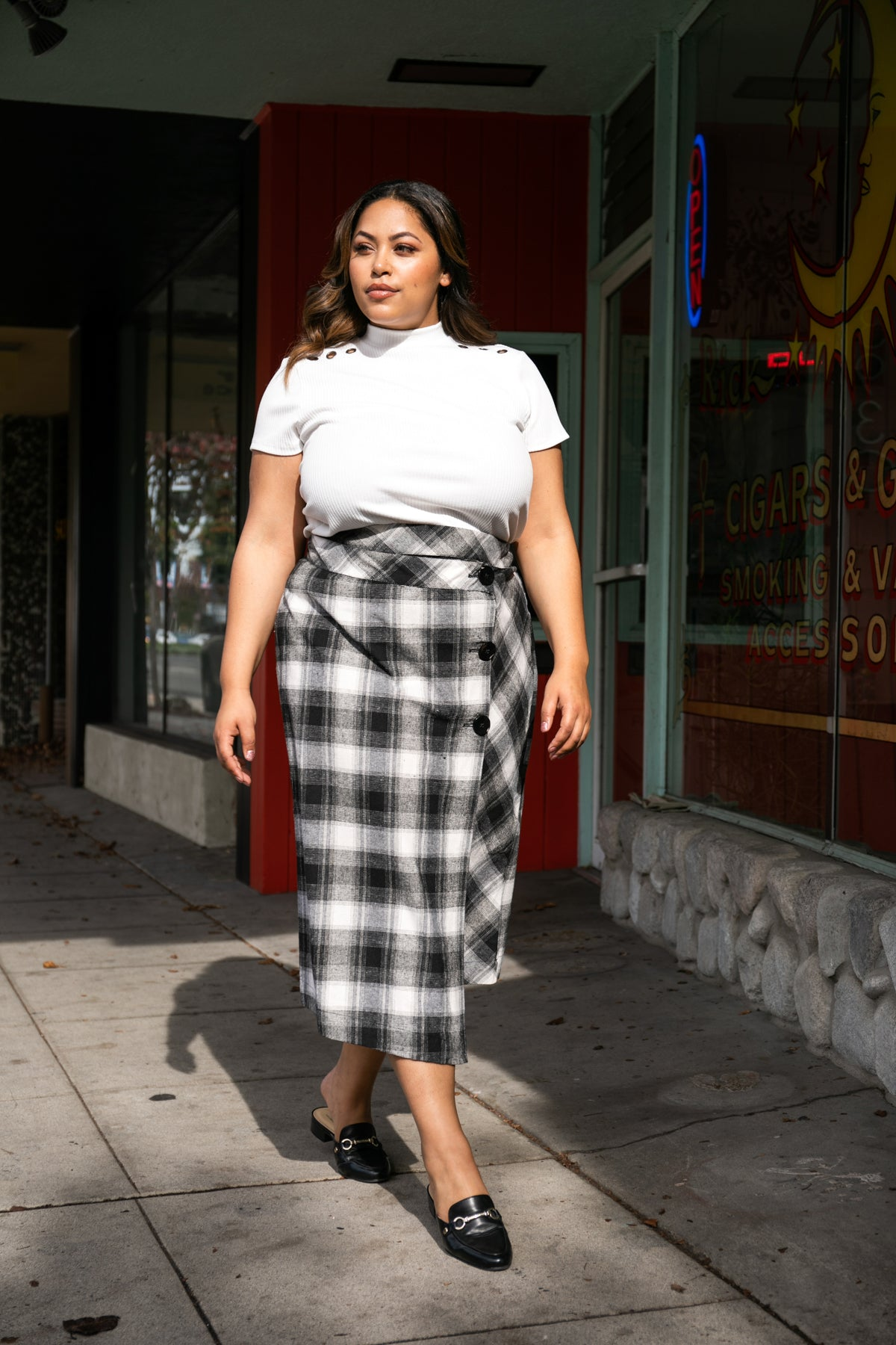 High Waisted Plaid Skirt