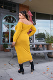Golden Off The Shoulder Long Sleeve Midi Dress