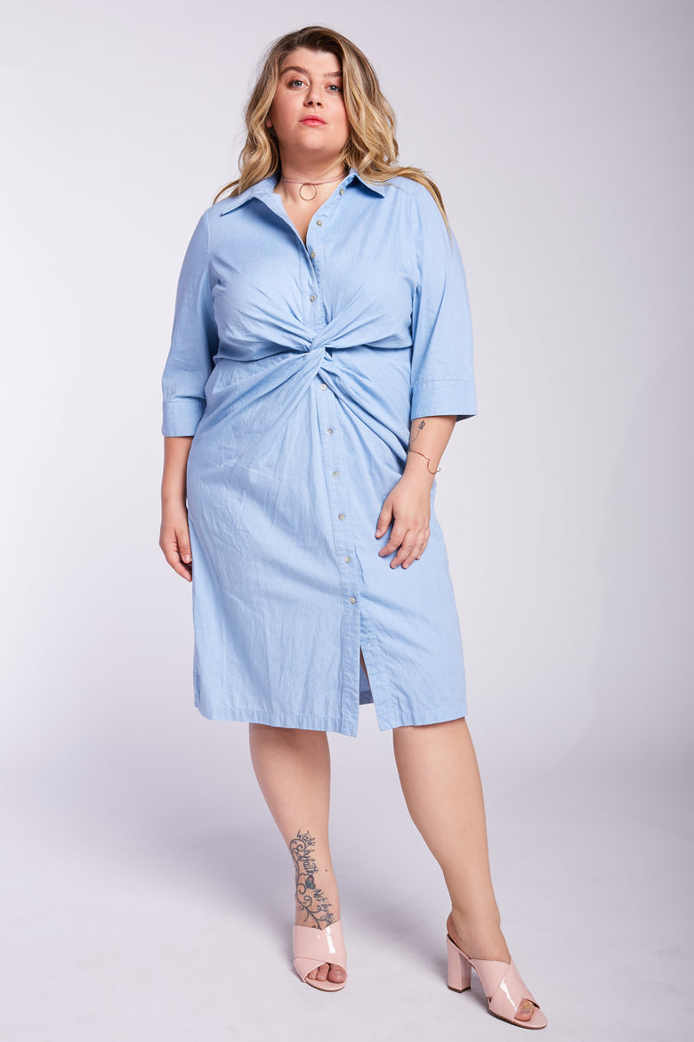 Let's Get Twisted Chambray Dress