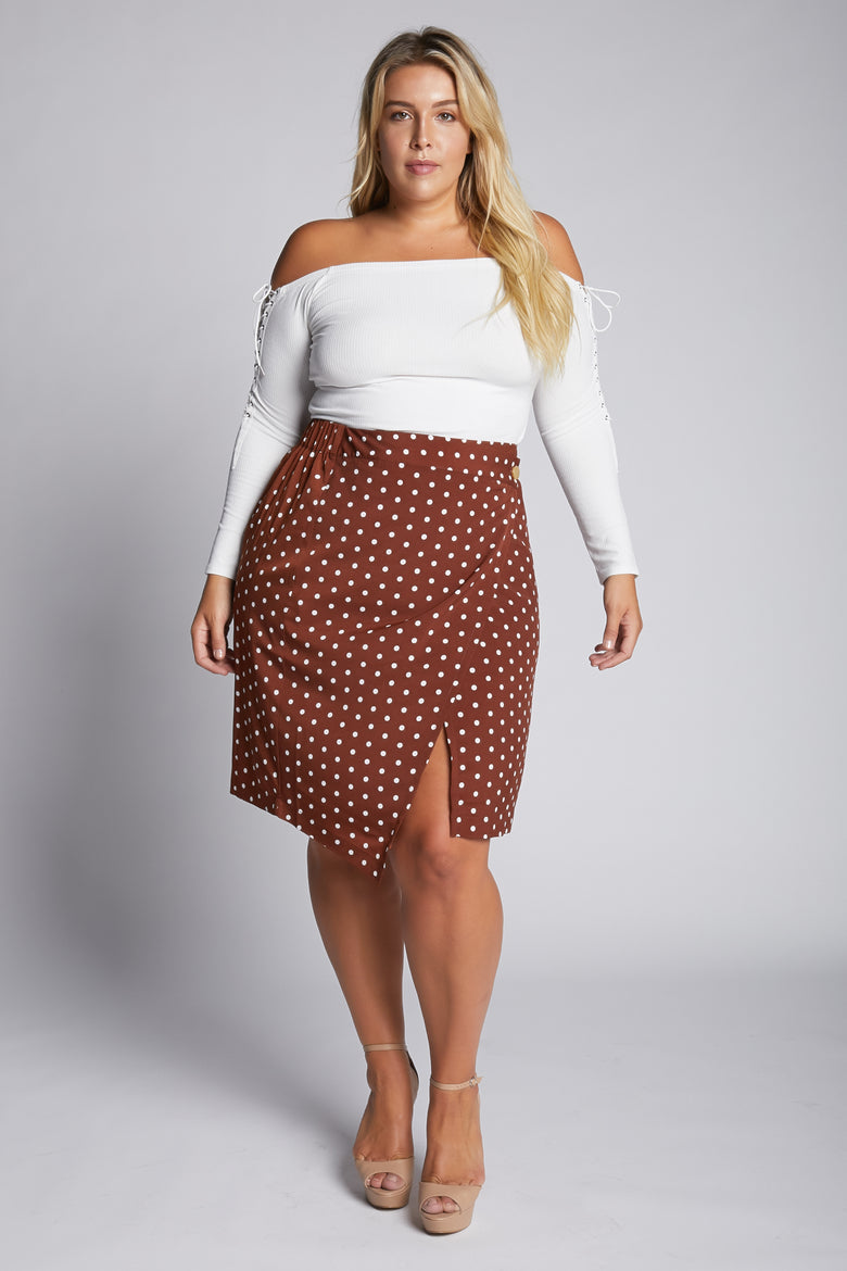 I Seriously Dot That Printed Skirt