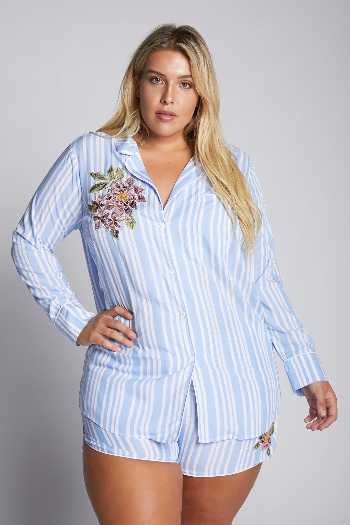 Blue, White And Pinstripes Pj Top