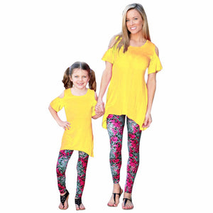 2016 New Fashion Matching Mother Daughter Clothes Pants Women Girl Floral Pants Capris Family Matching Outfits Girl Leggings