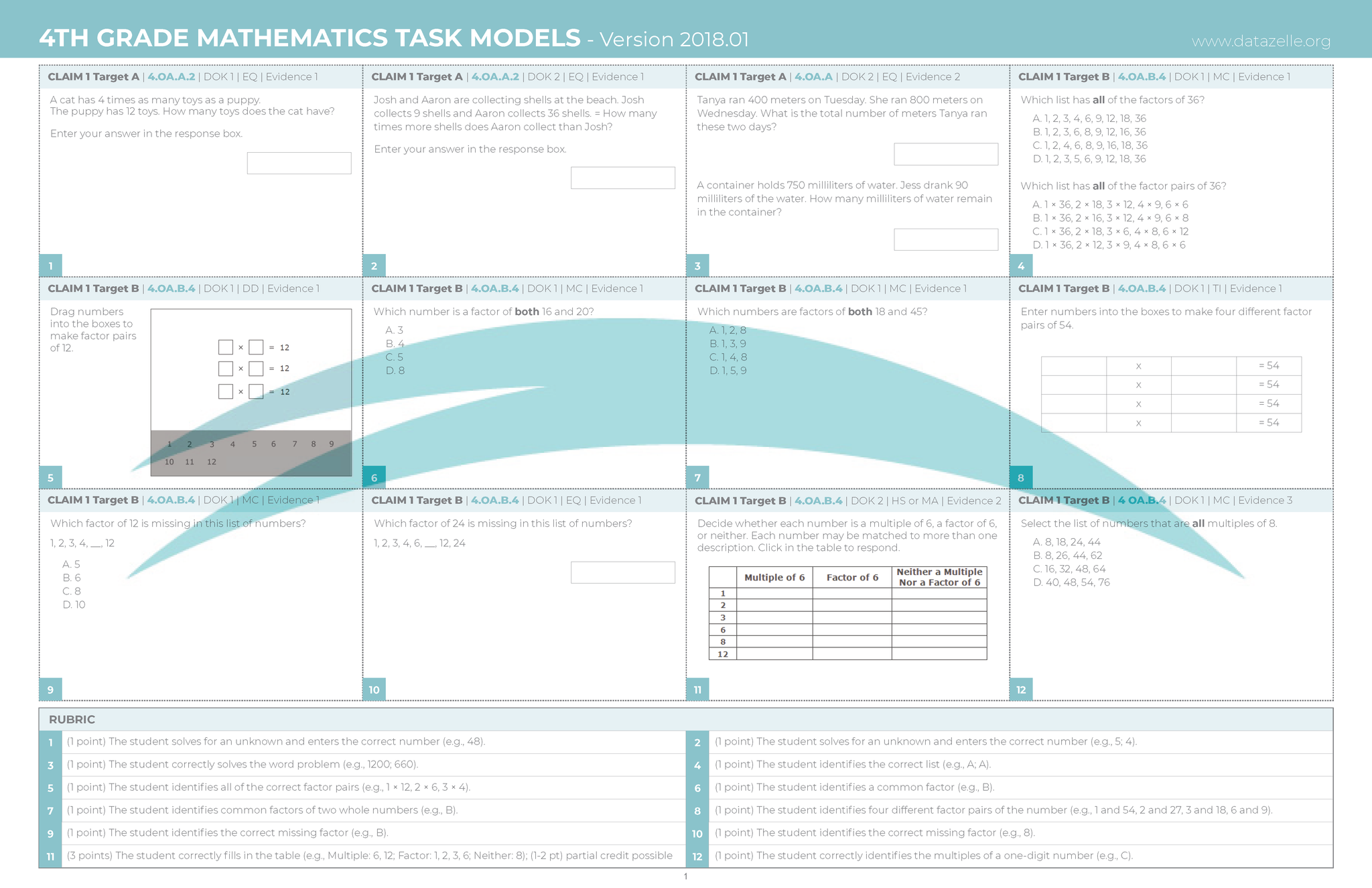 4th Grade SBAC Test Prep CAT Math Task Models