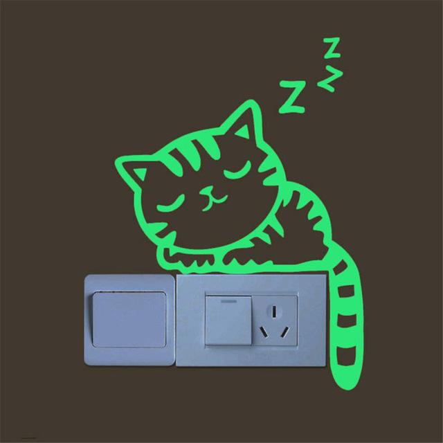 ISHOWTIENDA Creative Luminous Cute Kitten Cat Wall Stickers For Switch Stick Green Noctilucent Glow Wall Sticker Home Decor