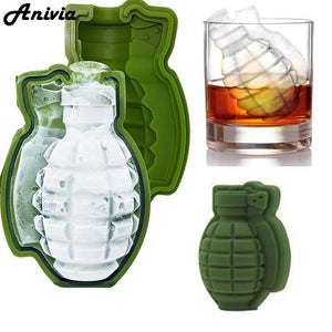 New 3D Grenade Shape Ice Cube Mold Ice Cream Maker Party Drinks Silicone Trays Molds Kitchen Bar Tool, A Great Mens Gift
