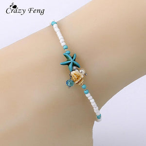 Crazy Feng Bohemian Simulated Pearls Beaded Anklets For Women Crystal Sea Star Shell Pendant Boho Leg Bracelet Femme Jewelry