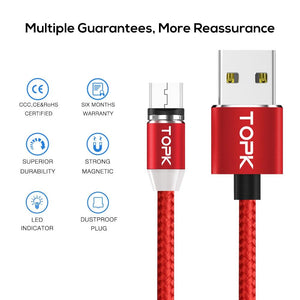 TOPK R-Line2 1M(3.3ft) LED Magnetic Micro USB Cable , Premium Nylon Braided Magnet Microusb Charger Cable for Micro USB Port