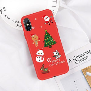 Christmas Tree Santa Claus Pattern Phone Case For iPhone Xs Max Xr Silicone TPU Case  For iPhone 6 6s 7 8 Plus X Back Cover Capa