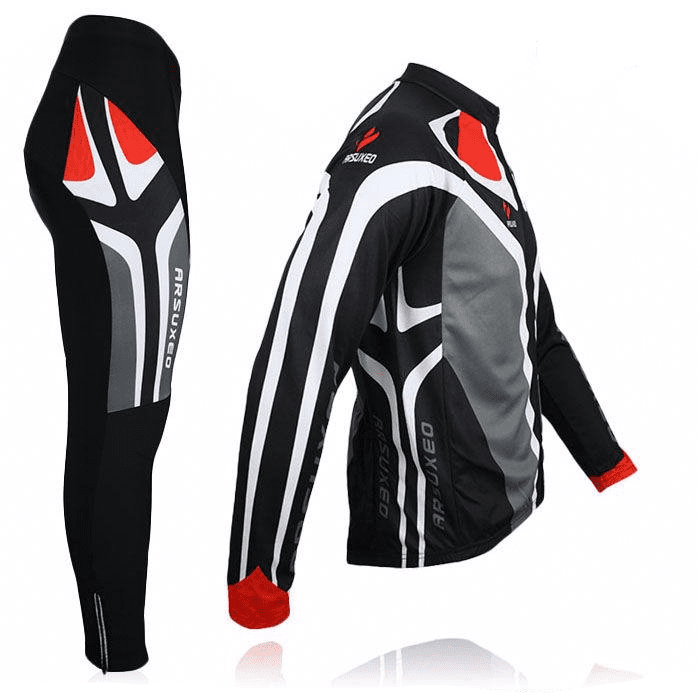 Ensemble long maillot + cuissard de cyclisme Motorax rouge