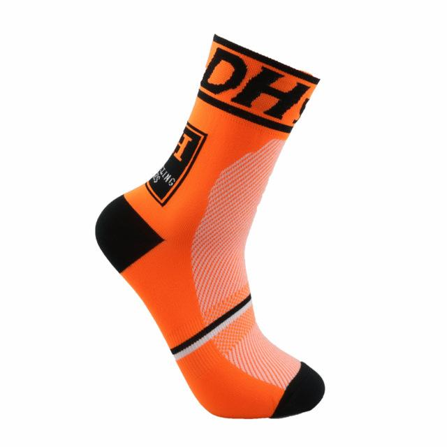 Chaussettes ultra orange respirantes cyclistes (1966304985177)