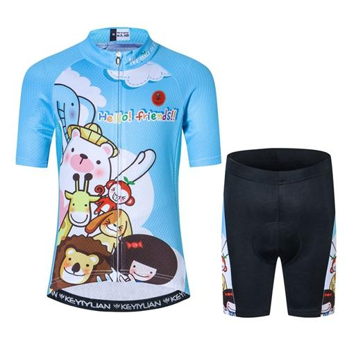 Ensemble court maillot + cuissard de cyclisme Enfants Jungle (557858848809)