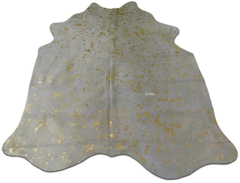Gold Metallic Cowhide Rugs Approximate Size: 5' X 5' Gold Metallic Cow Hides