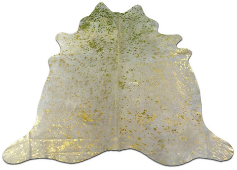 Gold Metallic Cowhide Rugs Size ~6.5 X 6.5