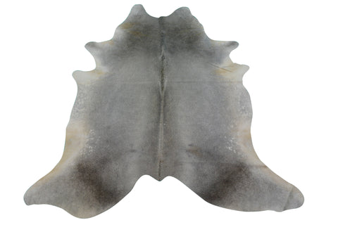 Grey Cowhide Rug Size: 7 X 6.5 ft Solid Grey Cow Hide Skin Rug M-071