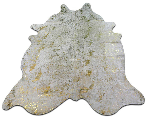 Gold Metallic Cowhide Rug Size: 8.7' X 7' *HUGE* Gold Metallic Acid Wash M-078