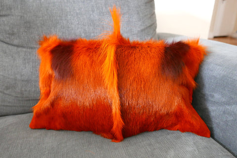 "Burnt Orange Springbok Skin Pillow Case 15x15"" (similar to cow hide skin pillow)"