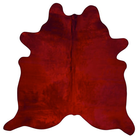 Dyed Red Cowhide Rugs Size: ~7 X 7 ft Dyed Red Cowhide Rugs